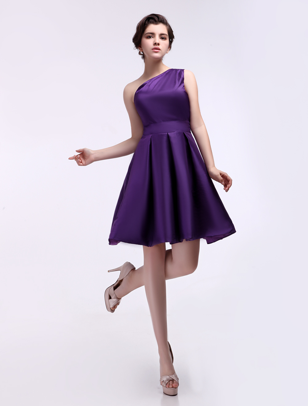 A-line One-Shoulder Ruched Grape Satin Bridesmaid Dress