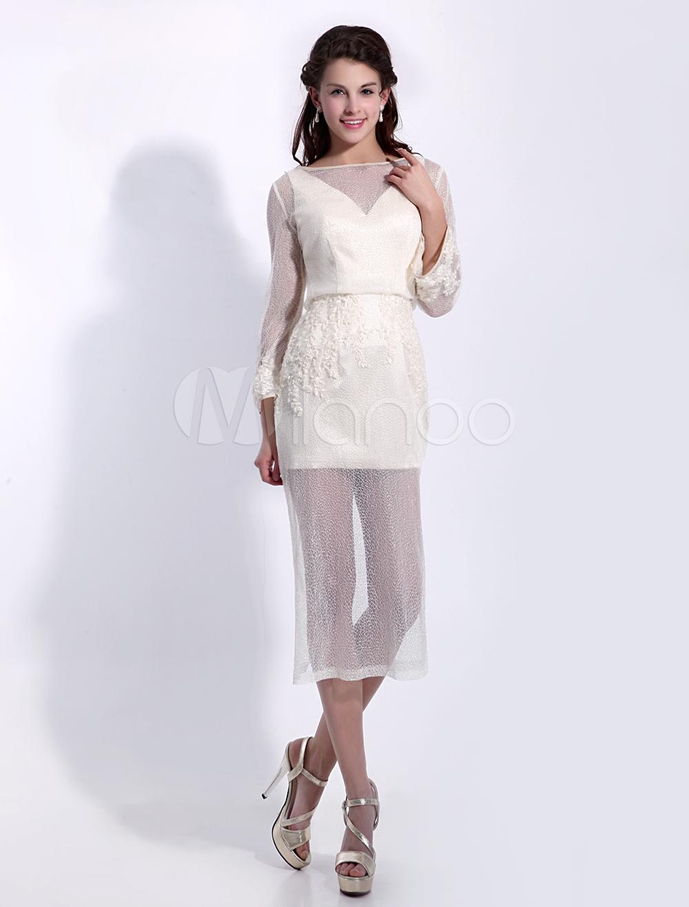 Pretty Sheath Jewel Neck Beading Long Sleeves Tulle Cocktail Dress Milanoo (Wedding Cocktail Dresses) photo