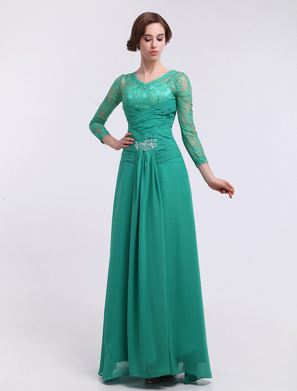 Chiffon Evening Dress Blue Green Ruched Bridal Mother Dress Lace Beaded V Neck Long Sleeve A Line Floor Length Party Dress Milanoo (Wedding) photo