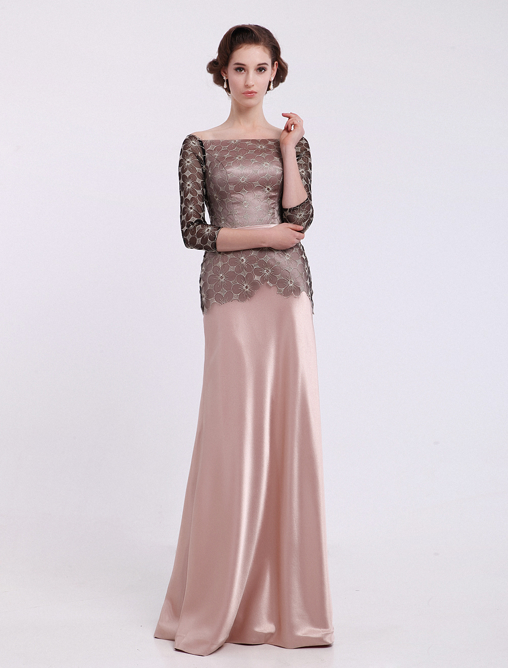 Blushing Pink Sheath Bateau Neck Lace Dress For Mother of the Bride with 34 Length Sleeves $139.99 AT vintagedancer.com