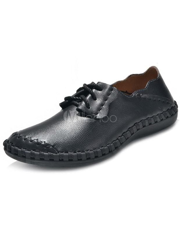 cool toe cowhide mens casual shoes milanoo