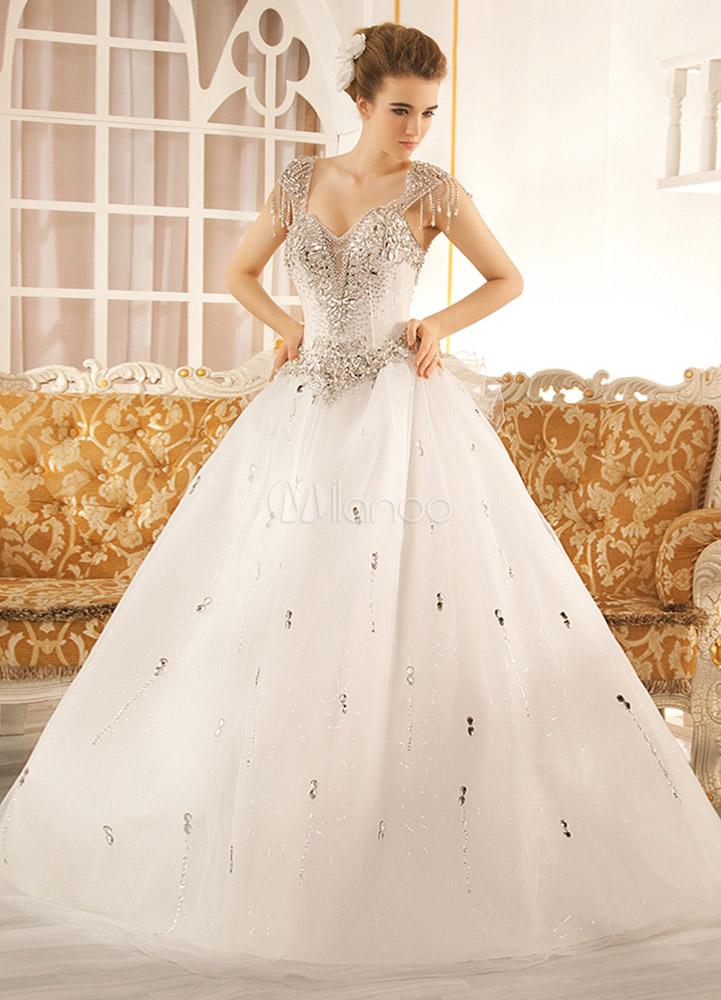 Robe de mariage exquise a ligne en tulle blanc avec strass - Robe de mariee strass ...