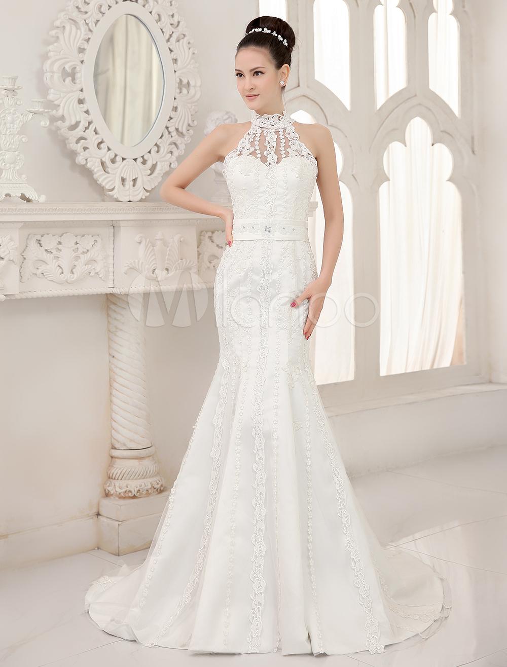 Robe de mariée fabuleuse sirène en dentelle ivoire avec perles col ...