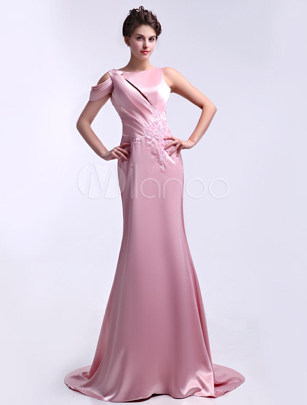 Gorgeous Pink Jewel Neck Pleated Sheath Elastic Woven Satin Evening Dress Milanoo (Wedding Evening Dresses) photo