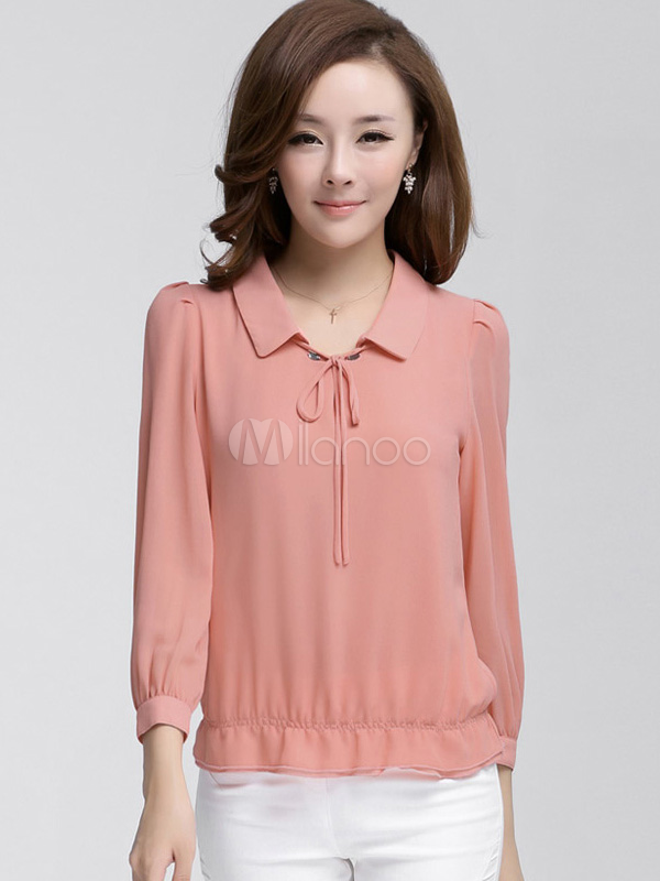 Blusa de chifón de color liso de estilo dulce - Milanoo.com