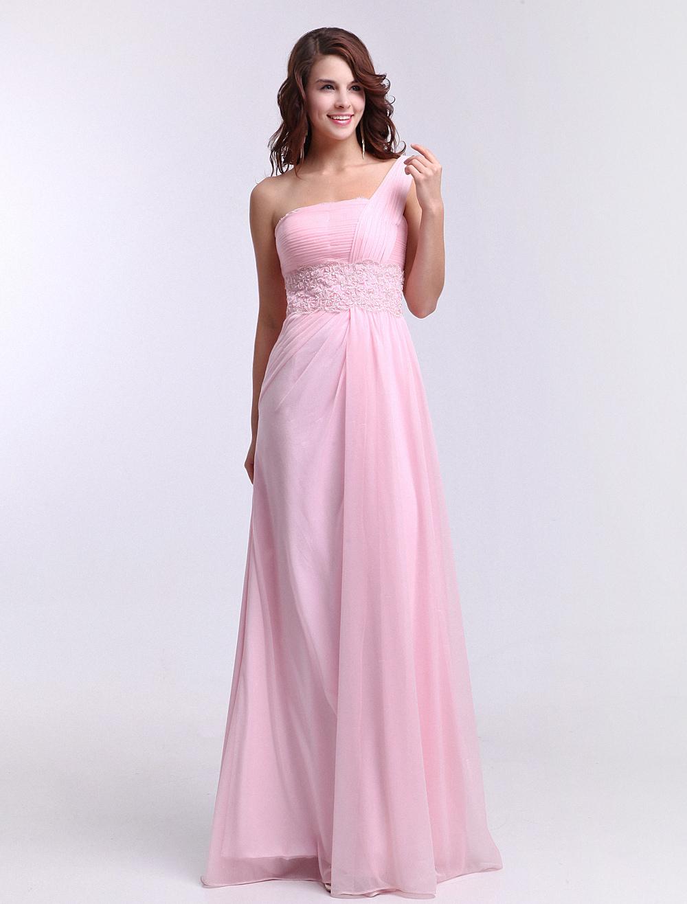 One-Shoulder Ruched Shot-silk Pink Elegant Bridesmaid Dress Milanoo (Wedding Bridesmaid Dresses) photo