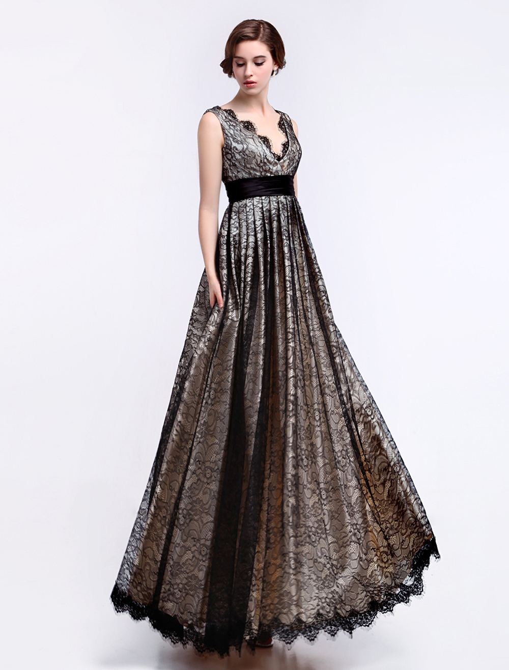 A-line V-Neck Lace Trim Glamour Fashion Dress For Mother of the Bride Milanoo