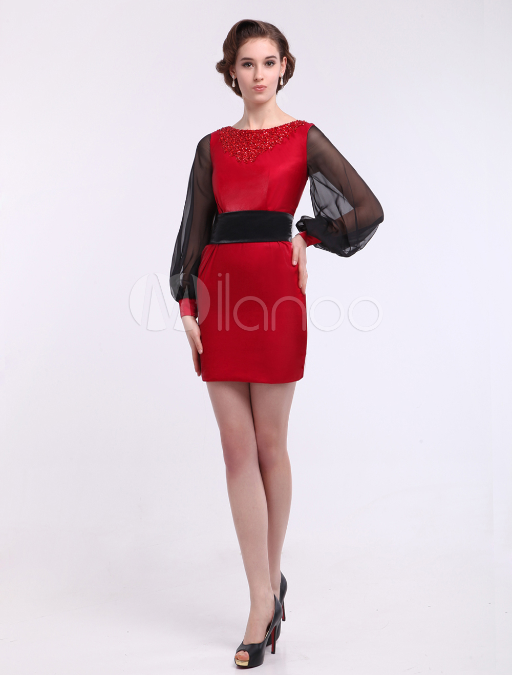 Sheath Bateau Neck Beading Long Sleeves Glamour Dress For Mother of the Bride Wedding Guest Dress Milanoo photo