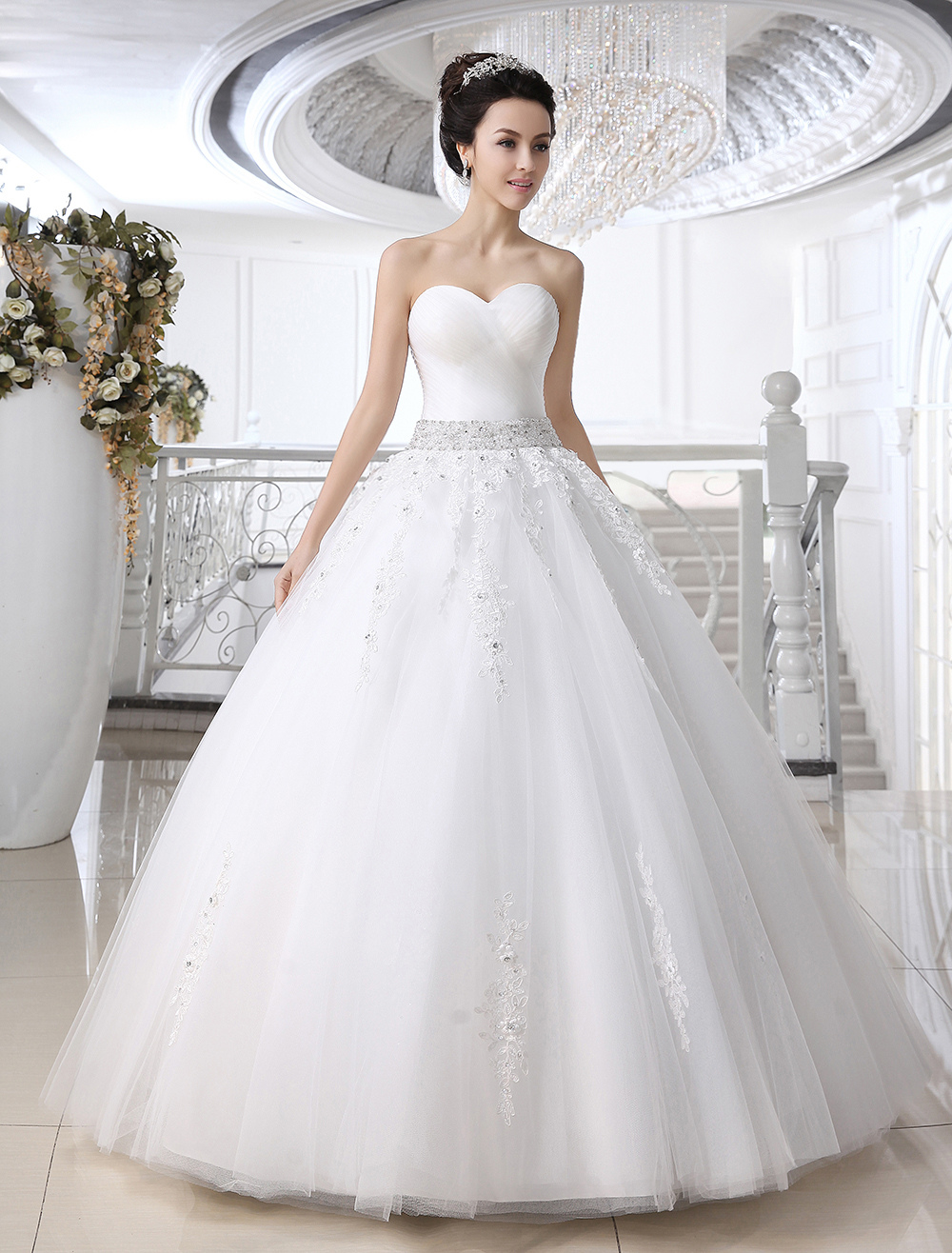 ... Sweetheart Neck Rhinestone Floor-Length Wedding Dress - Milanoo.com