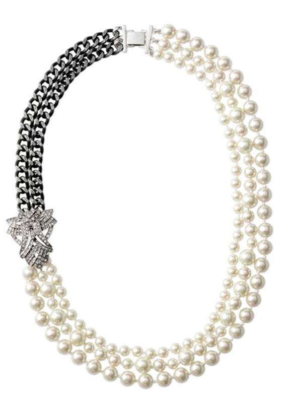 Collar con perlas y cadenas,No.1