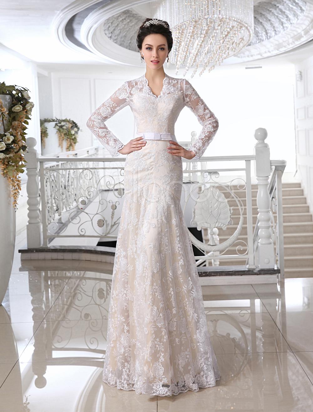 Wedding Dresses Lace Champagne Bridal Dress V Neck Long Sleeve Illusion Sheath Bow Sash Floor Length Wedding Gown (Cheap Wedding Dress) photo