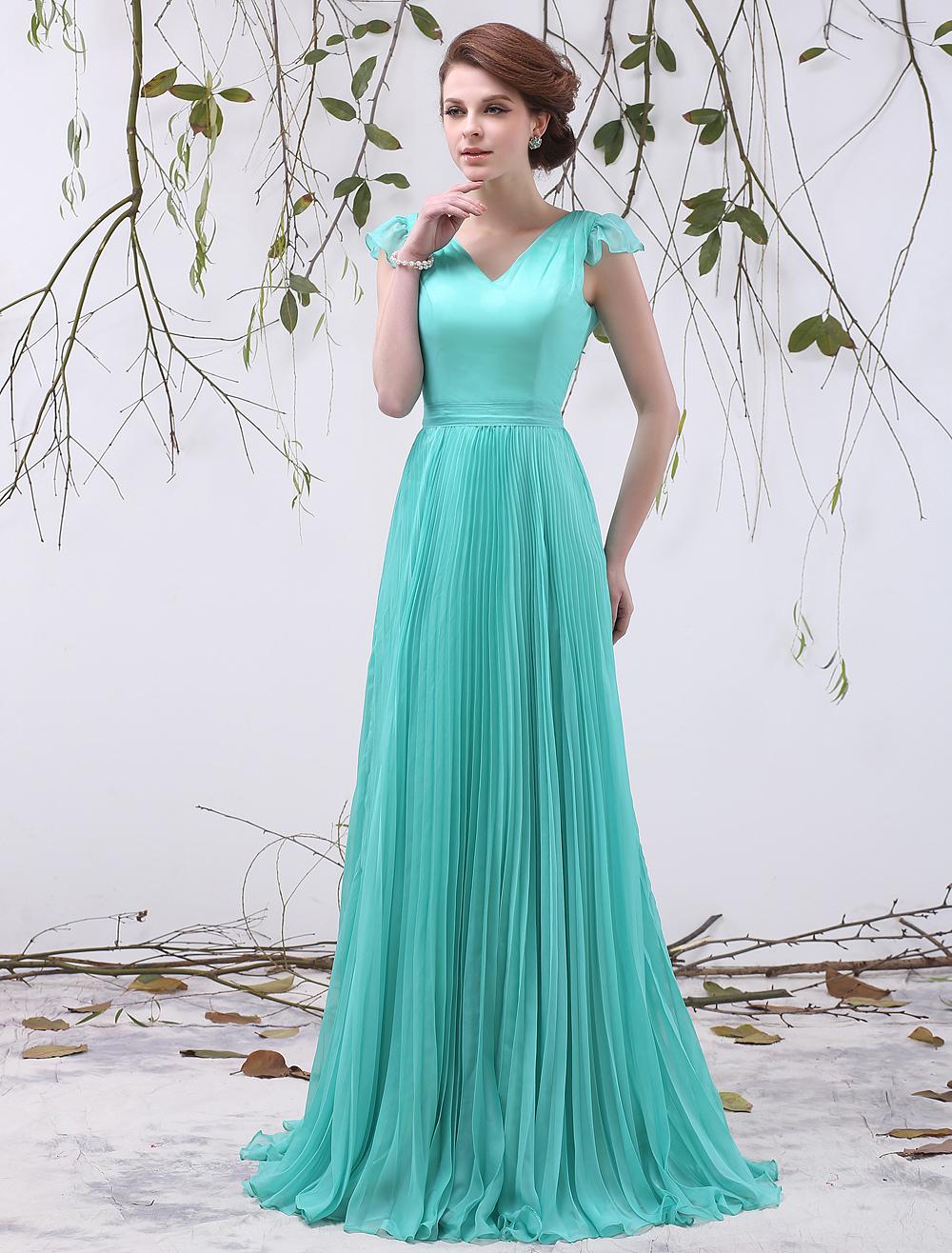Chiffon Bridesmaid Dress Turquoise V Neck Prom Dress A Line Pleated Floor Length Party Dress Milanoo