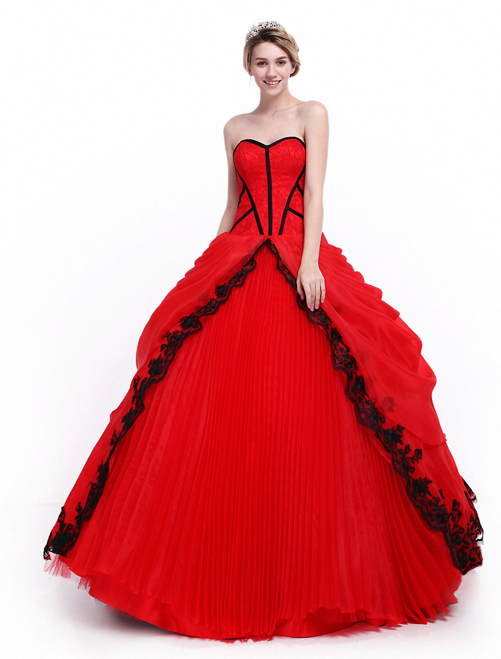 Ball Gown Red Quinceanera Dress with Sweetheart Neck Milanoo (Wedding Quinceanera Dresses) photo