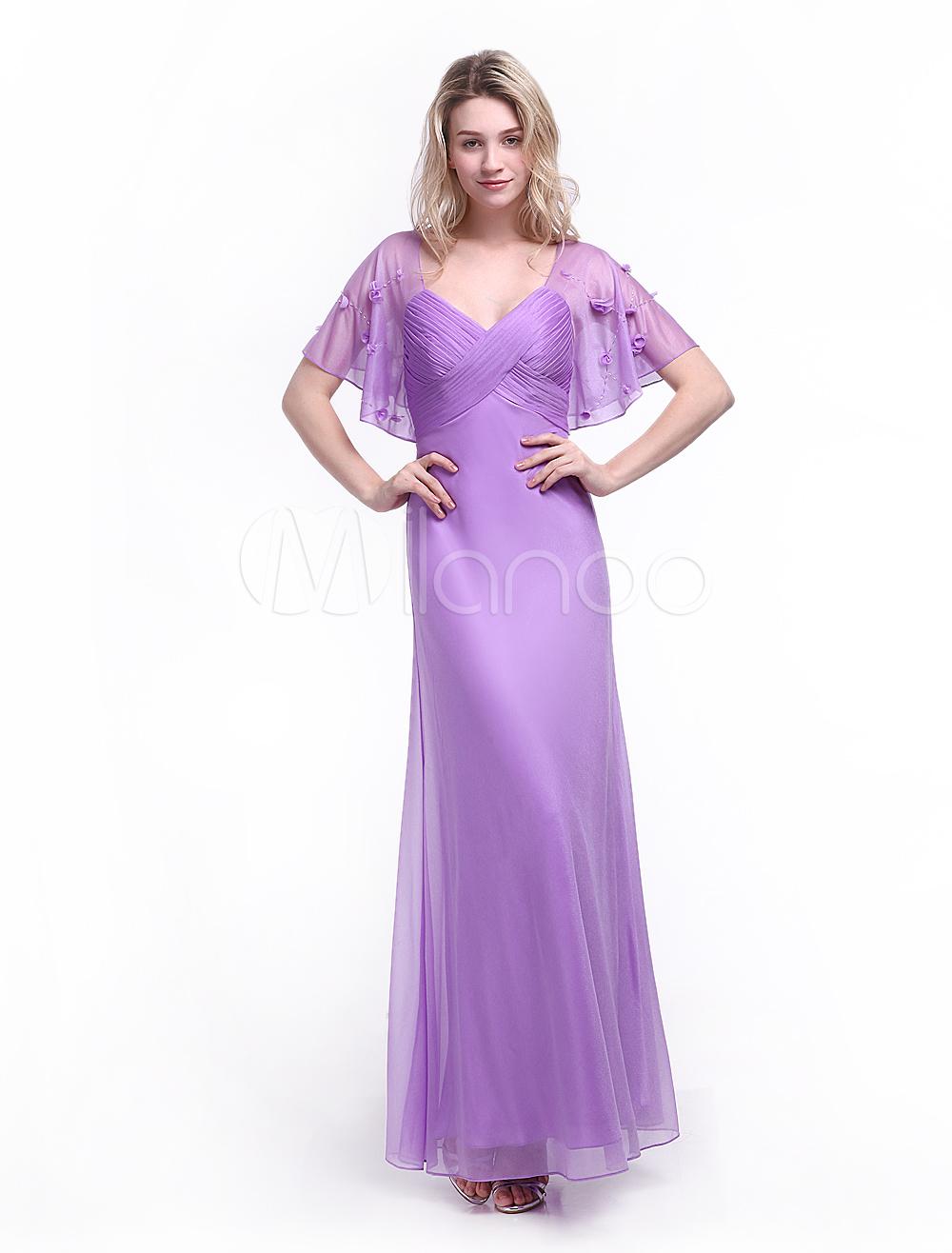 Lilac Evening Dress Beading Scoop Neck Short Sleeves Sheath Party Dress Milanoo (Wedding Evening Dresses) photo
