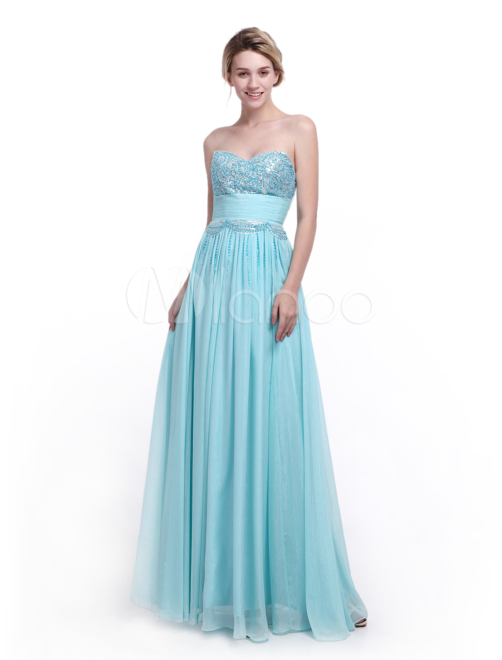 Mint Green Prom Dress Sweetheart Neck with Ruched A-line Bright Silk Chiffon Skirt Milanoo (Wedding Prom Dresses) photo