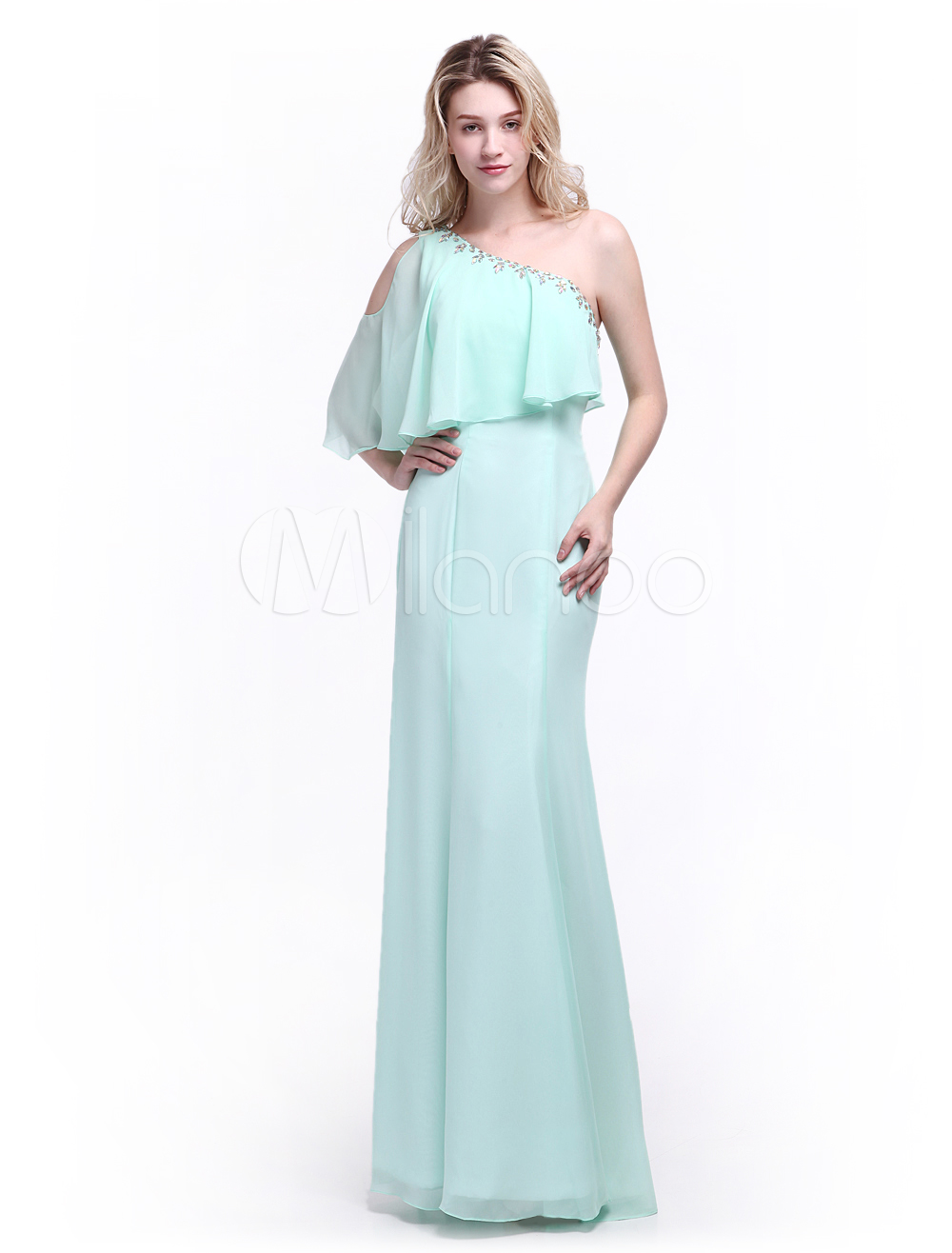 Mint Green Bridesmaid Dress with One-Shoulder Rhinestone Chiffon Skirt Milanoo (Wedding Bridesmaid Dresses) photo