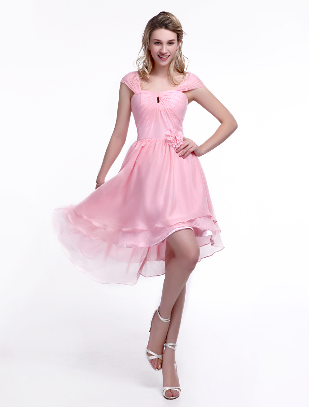 Pink Bridesmaid Dress with Square Neck and Flower Chiffon Skirt Milanoo