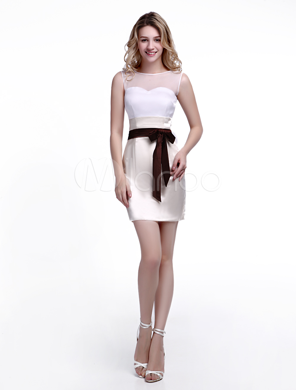 Champagne Wedding Guest Dress Sheath with Jewel Neck Bow and Satin Skirt Wedding Guest Dress Milanoo