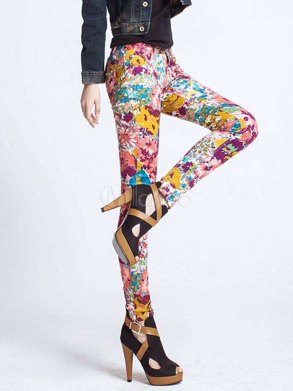 Fashion Multi Color Floral White Skinny Denim Womens Jeans