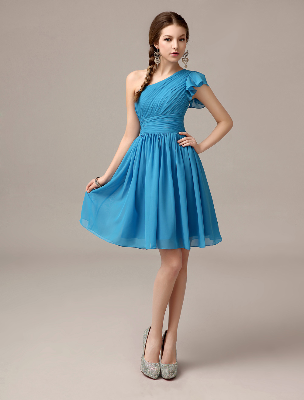 Knee-Length Ocean Blue A-line Ruffles Chiffon Bridesmaid Dress with One-Shoulder