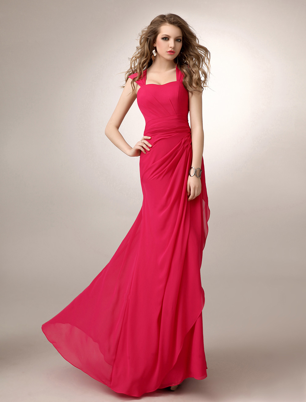 Coral Chiffon Bridesmaid Dress Straps Ruched A Line Sweetheart Neck Floor-Length Wedding Party Dress
