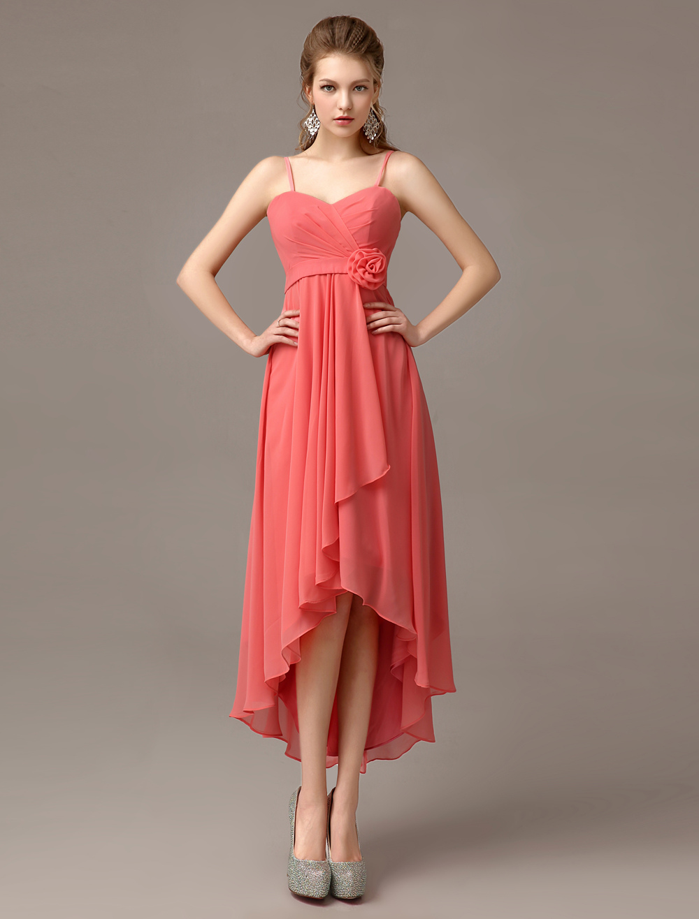 Asymmetrical Sheath Watermelon Flower Chiffon Bridesmaid Dress with Straps Neck