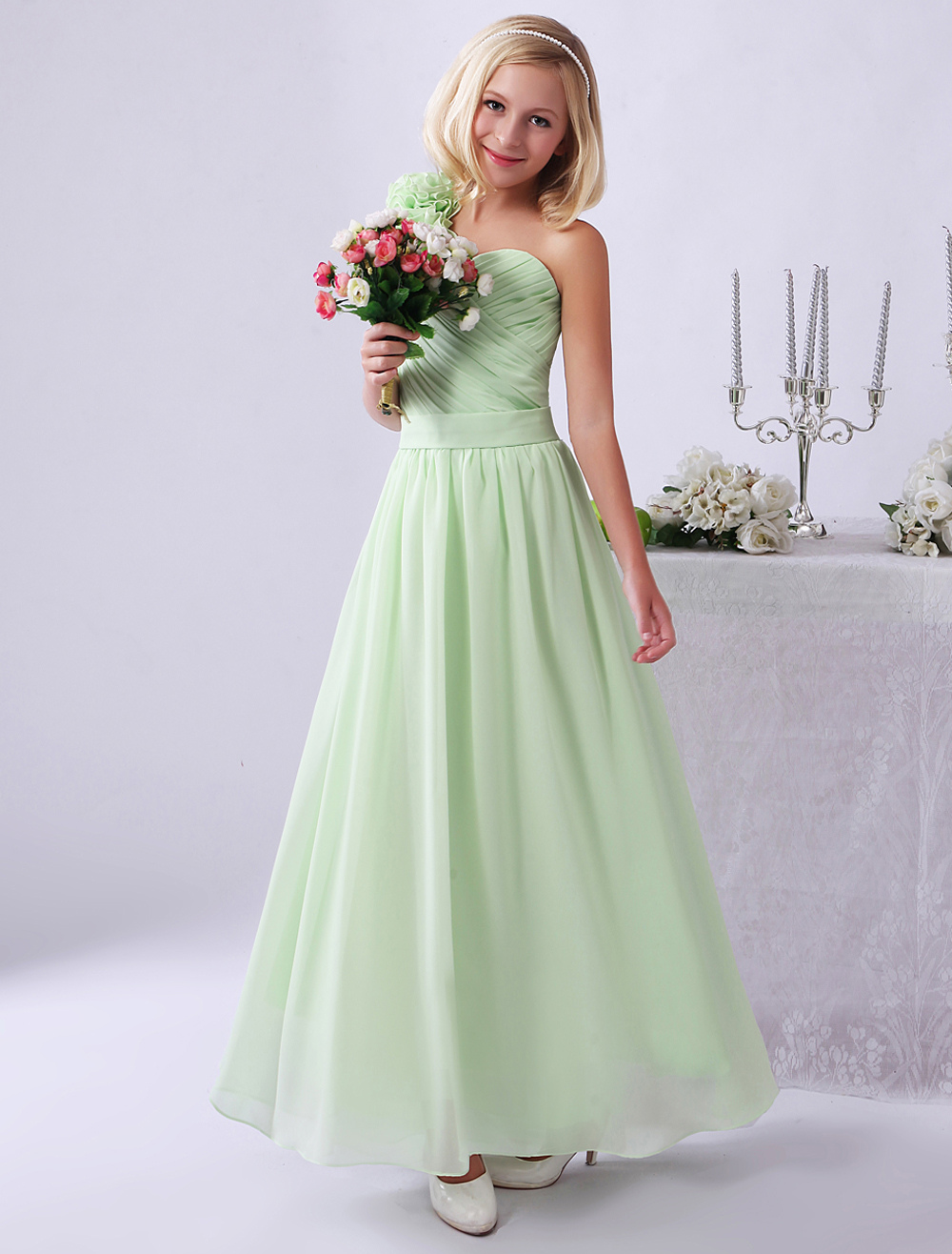 Junior Bridesmaid Dresses Light Green One Shoulder Flowers Chiffon Long Flower Girl Dress