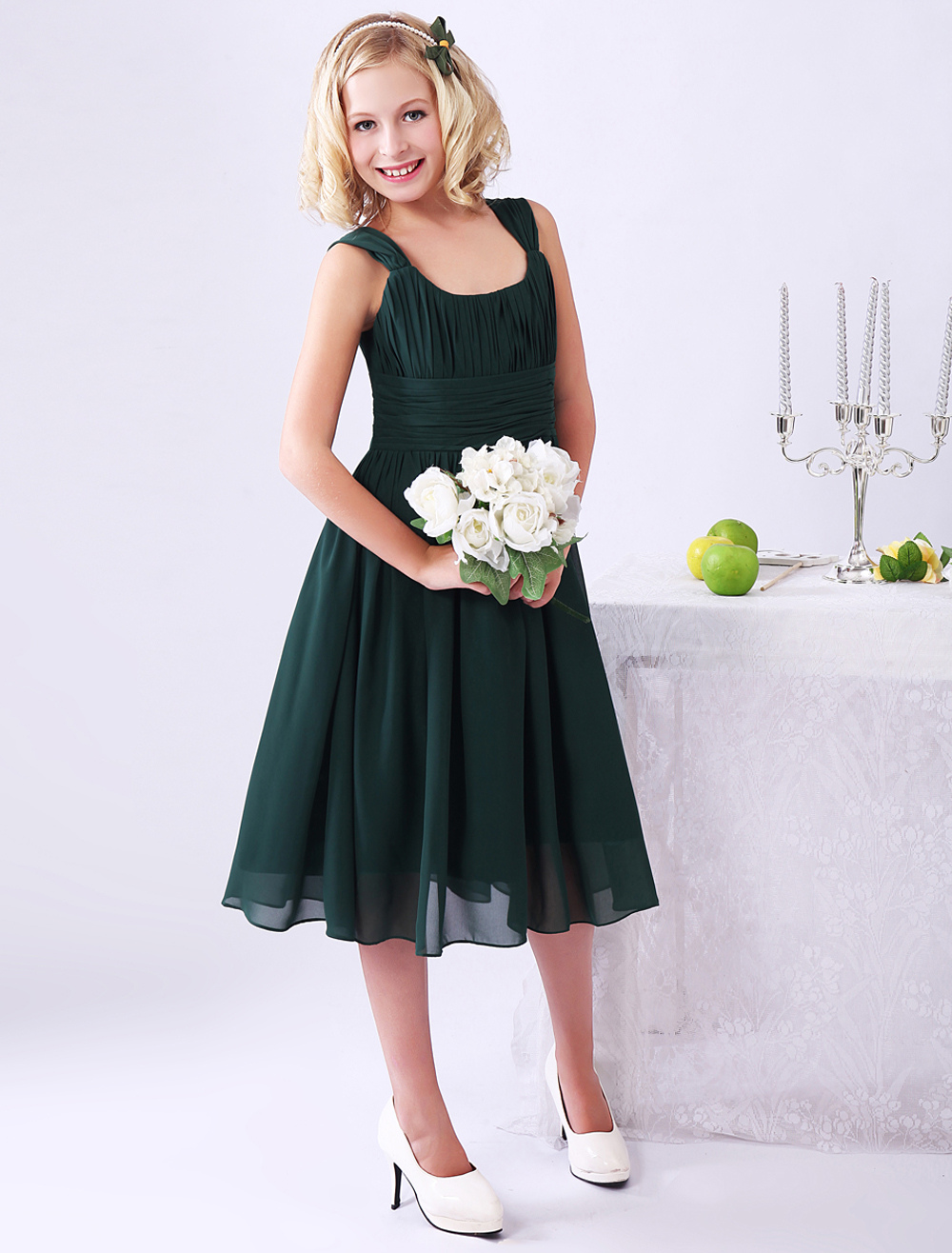 Dark Green A-line Ruched Chiffon Junior Bridesmaid Dress with Square Neck (Wedding) photo