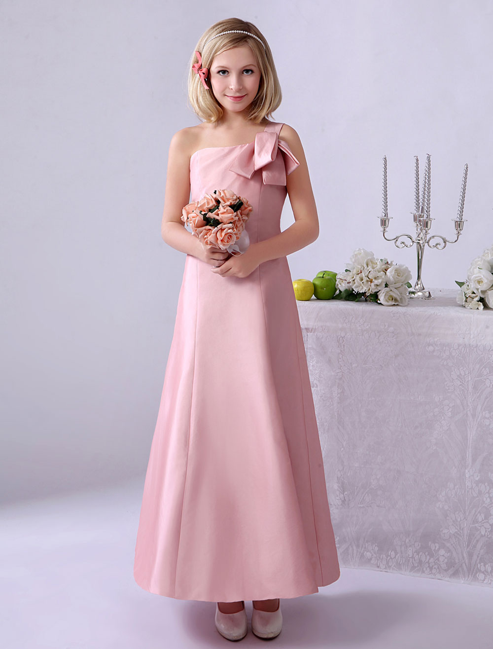 Pink One-Shoulder A-line Knotted Junior Bridesmaid Dress