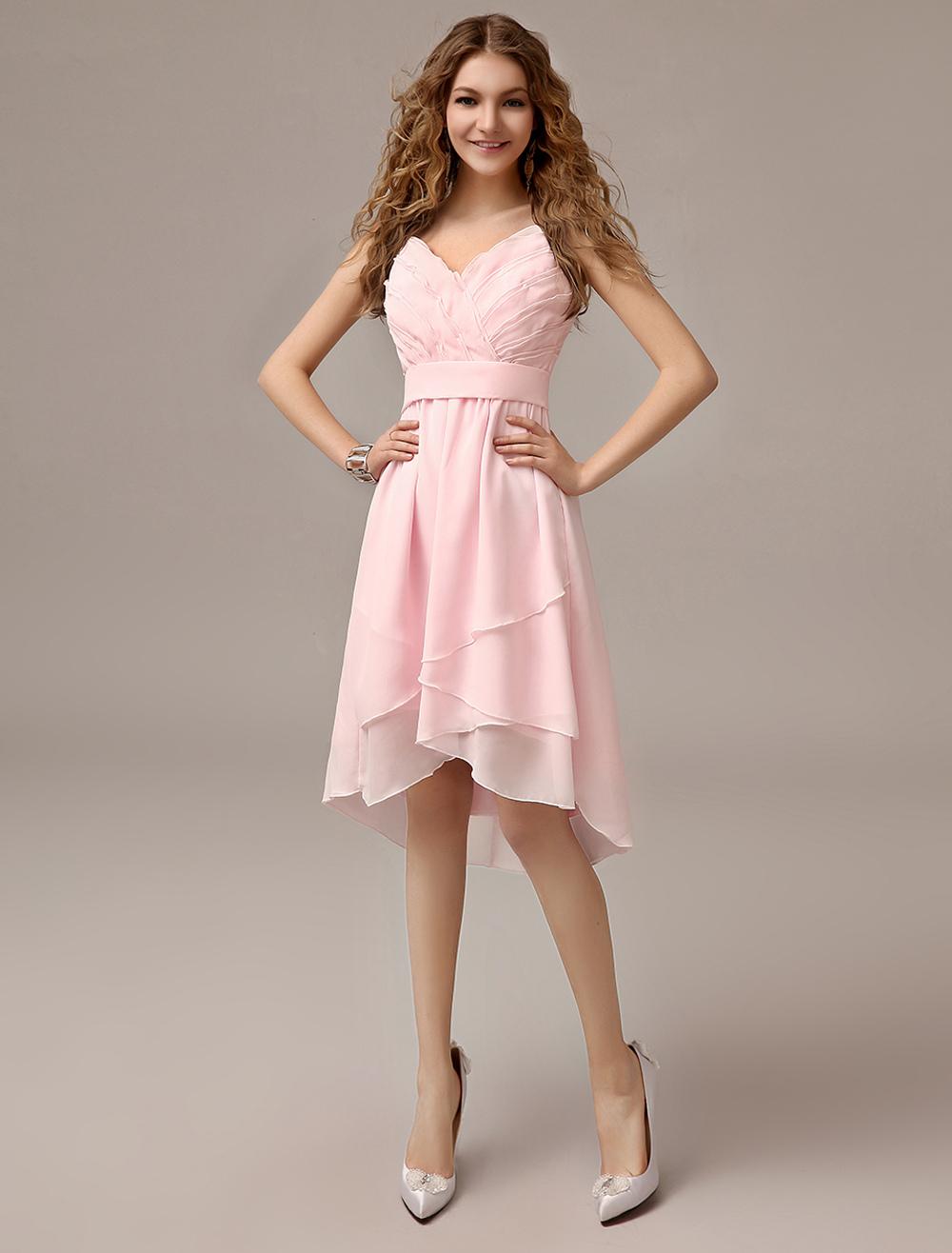 Asymmetrical Blush Pink A-line Ruched Chiffon Bridesmaid Dress With Straps Neck (Wedding Bridesmaid Dresses) photo