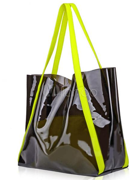 hochwertige handtasche aus plastik mit farbblock. Black Bedroom Furniture Sets. Home Design Ideas