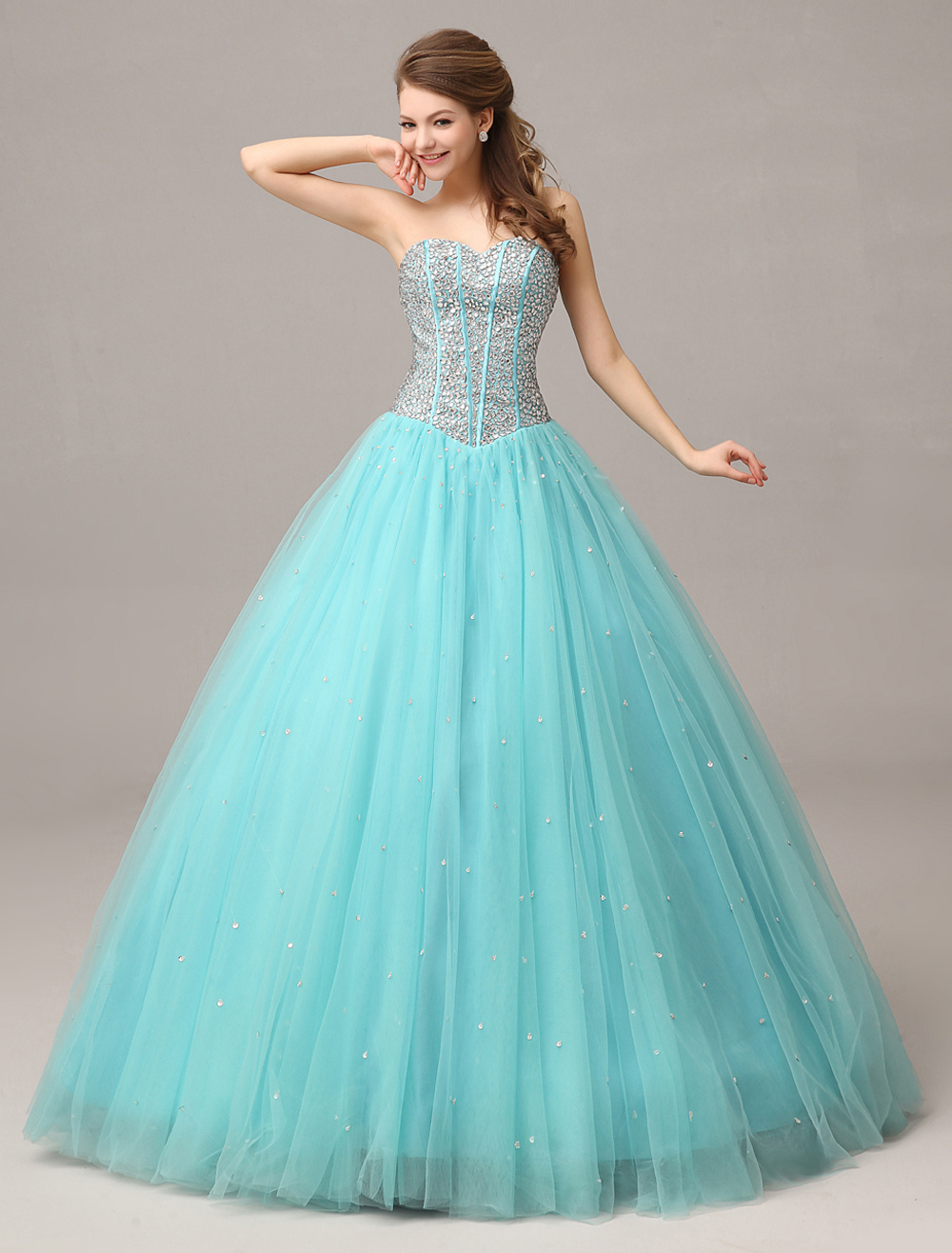 Tulle Ball Gown Mint Green Sweetheart Neck Prom Dress Rhinestone Backless Floor Length Party Dress (Wedding Prom Dresses) photo