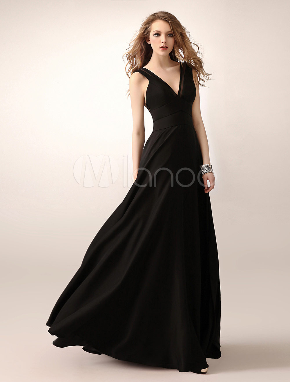 Black Evening Dress Cut Out Mesh Satin Prom Dress (Wedding Evening Dresses) photo