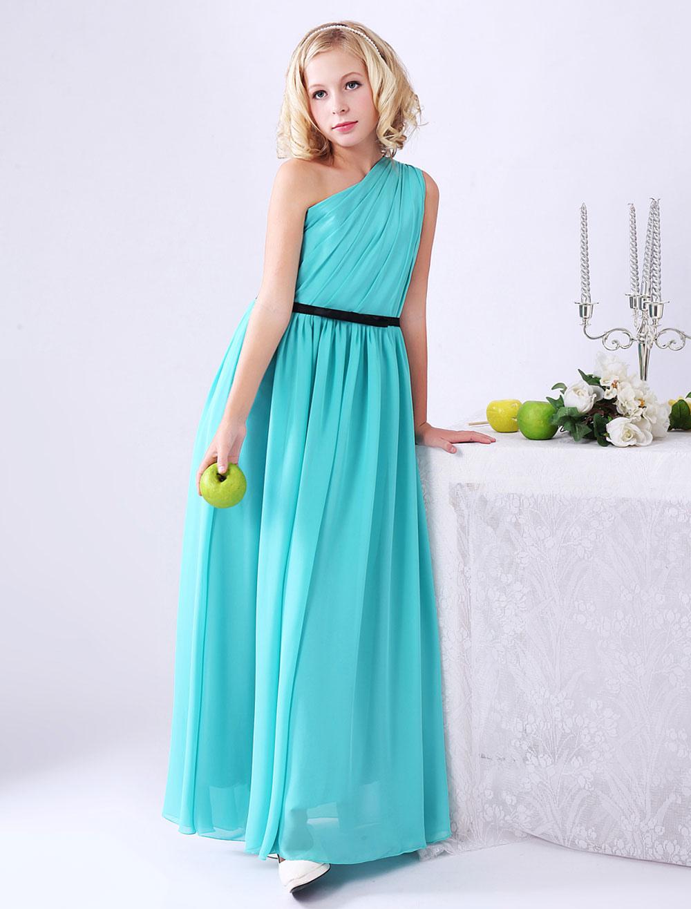 A-line Sea Green Sash Chiffon Junior Bridesmaid Dress with One-Shoulder (Wedding) photo