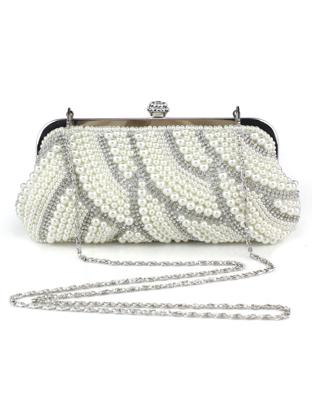 pochette de soire sequins cru blanc imprim brillant avec perles et bandoulire rglable milanoocom - Pochette Mariage Ecru