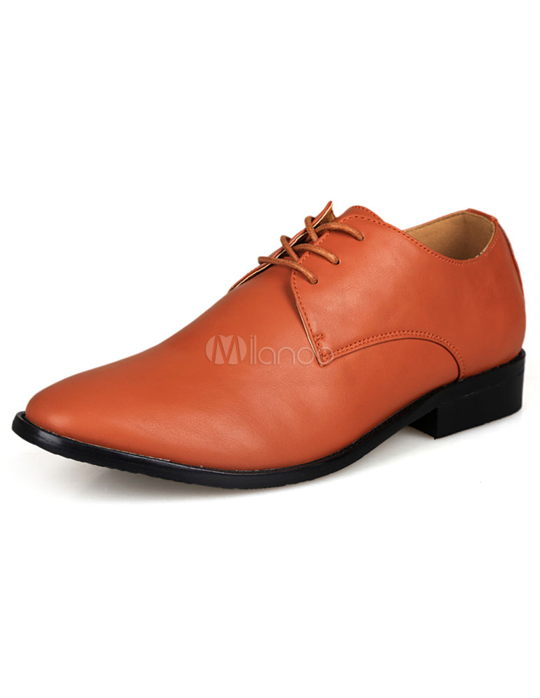 modern light brown pointed toe patent pu mens dress shoes