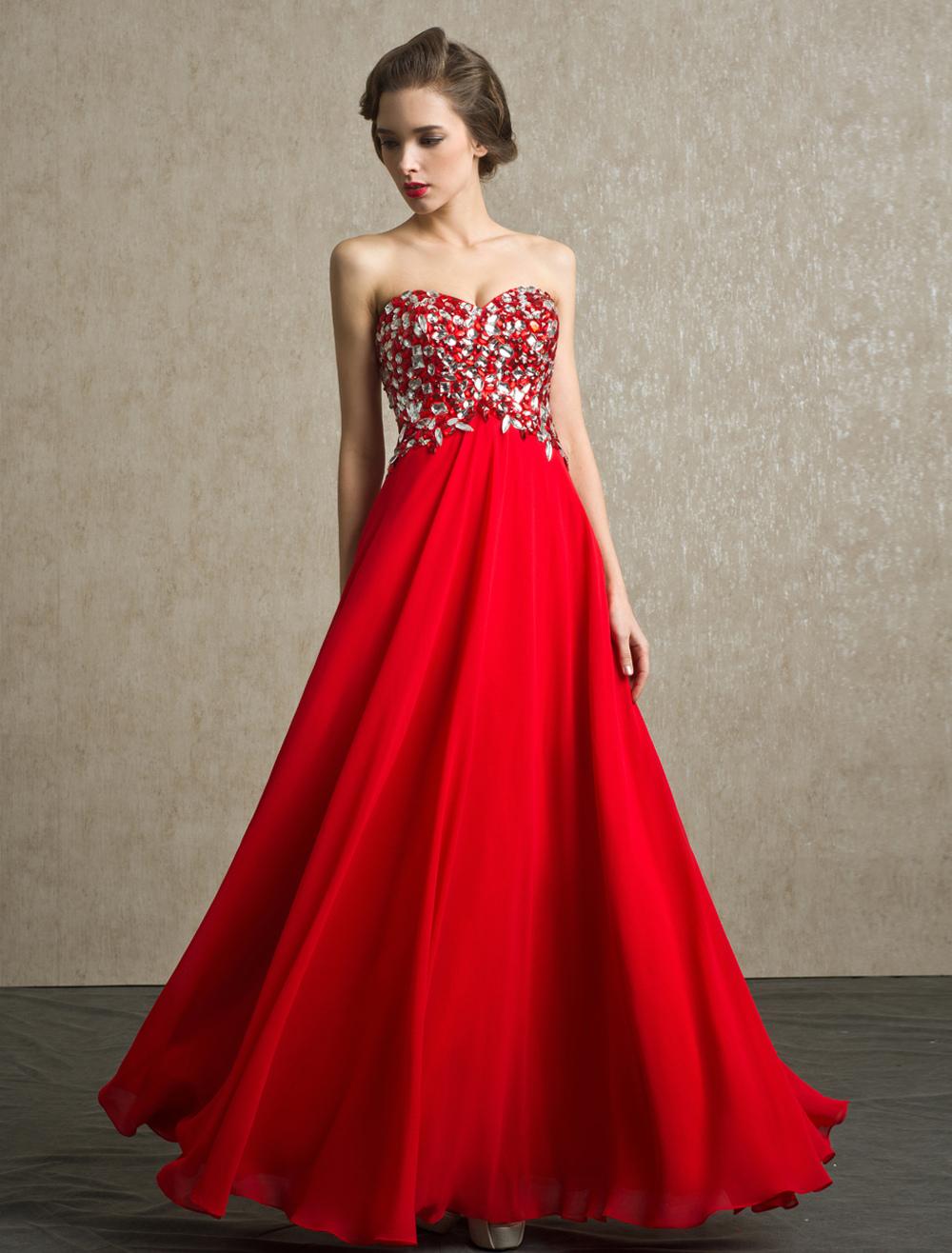 Red Prom Dresses 2018 Long Strapless Backless Evening Dress Rhinestone Chiffon Party Dress (Wedding) photo