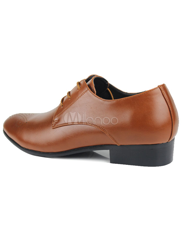 light brown pointed toe cut out lace up pu leather mens