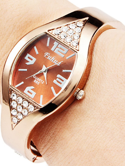 Luxury Gold Rhinestone Womens Bracelet Watch