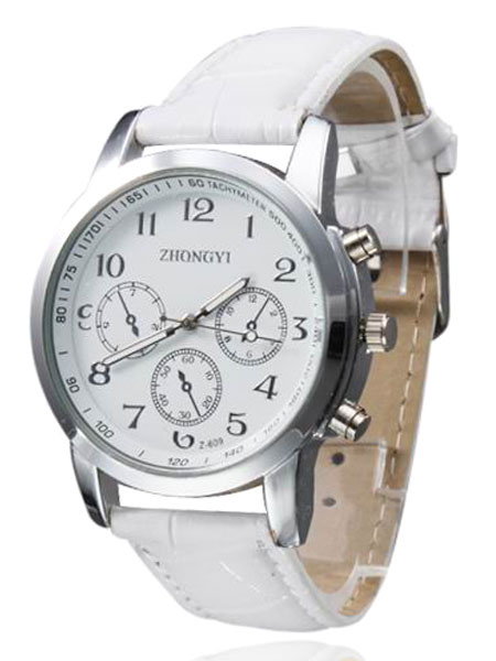 Casual Metal Leather Strap Round Shape Womens Wrist Watch