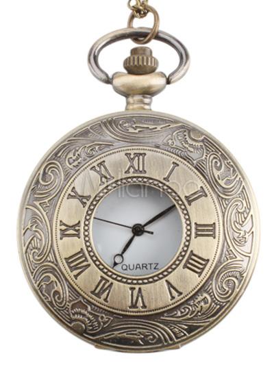 Vintage Round Shape Stainless Steel Strap Metal Mens Pocket Watch