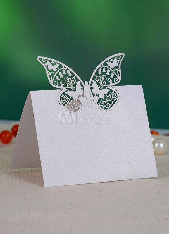 Stylish White Hollow Out Butterfly Wedding Place Cards Set of 12