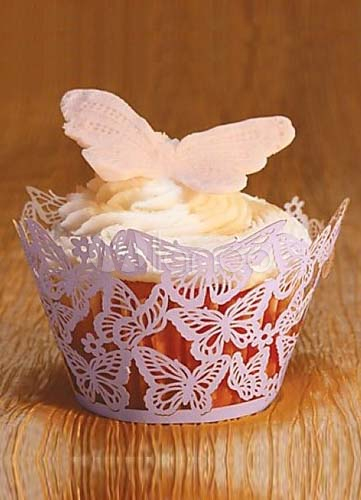 Purple Round Paper Butterfly Wedding Cupcake Wrapper Set of 12