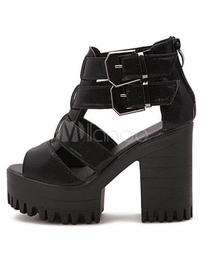 beliebte plateau sandalen aus pu mit blockabsatz in schwarz. Black Bedroom Furniture Sets. Home Design Ideas