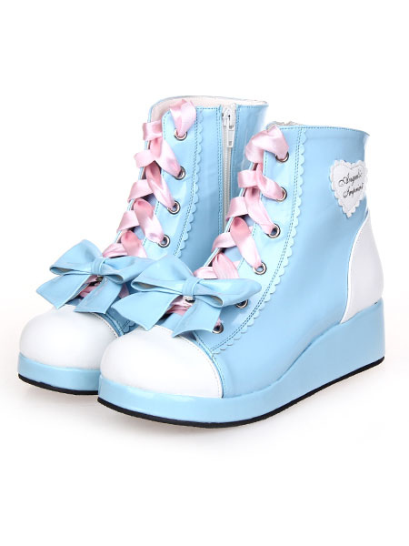 Sky Blue Lolita Boots Wedge Heels Lace Up Bow Decor Zip