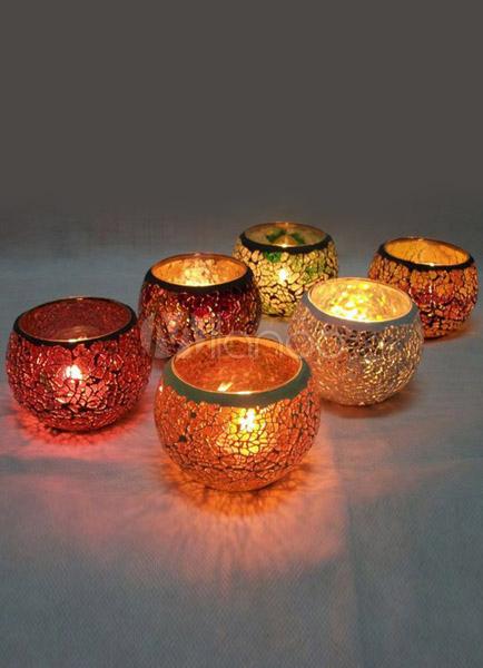 Porte bougies en verre color motif mosa que - Porte bougie en verre ...