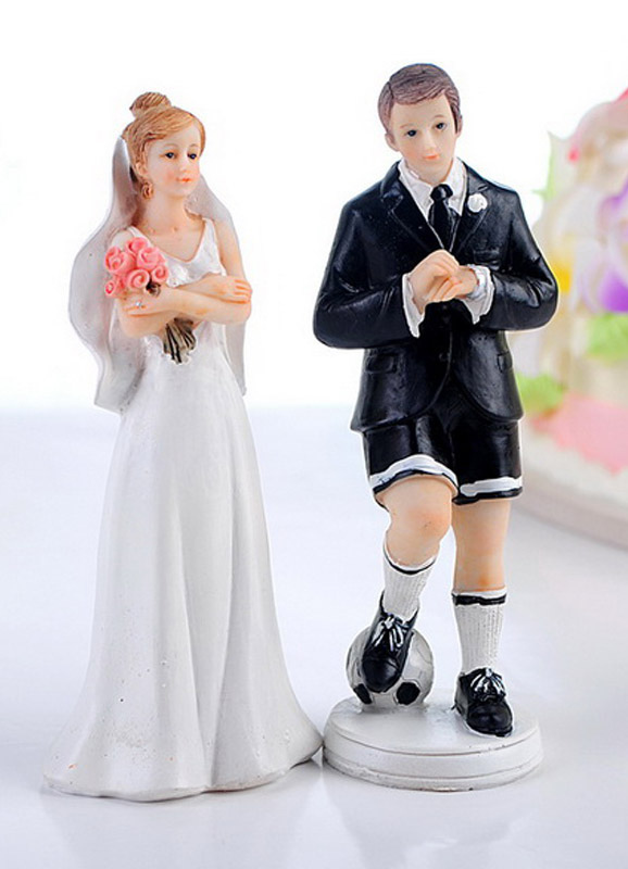 Athletic Football Classic & Traditional Figurine Wedding Cake Toppers