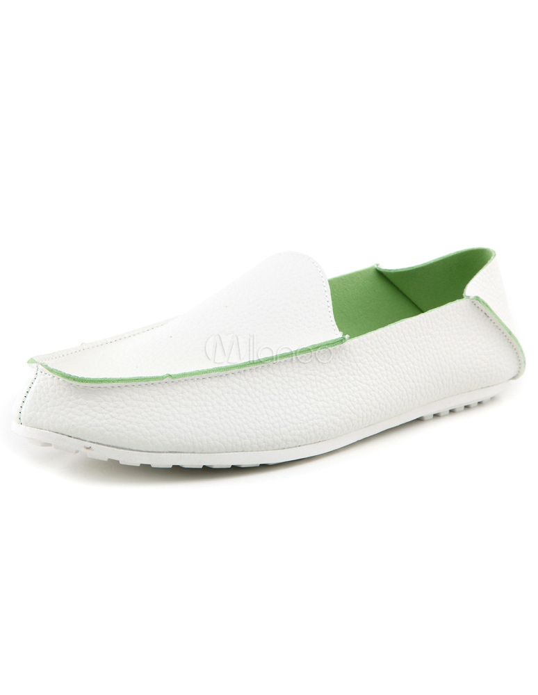 popular white pu leather slip on mens loafer shoes