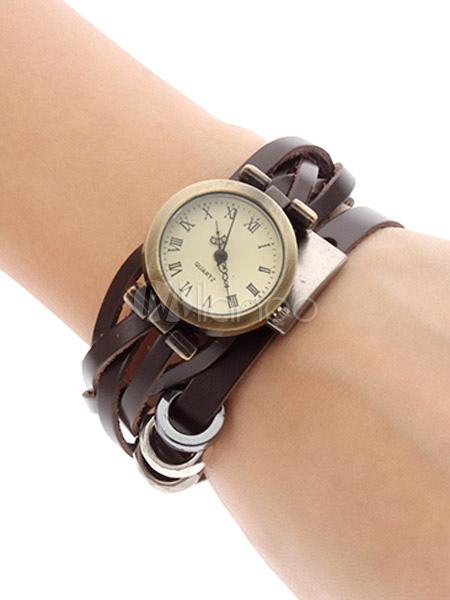 Cuero metal marr n vintage correa de reloj de pulsera para for Reloj piscina