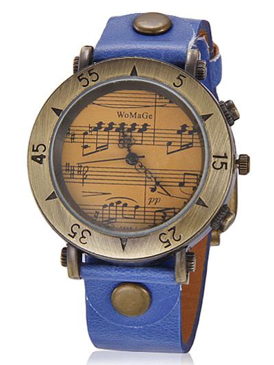 Leather Strap Vintage Round Shape Womens Wrist Watch